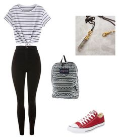 """""""ootd"""" by wemilee ❤ liked on Polyvore featuring Topshop, Converse and JanSport"""