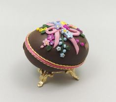 Chocolate Easter Egg Decorated Easter Egg by NatalieOrigStudio, $40.00
