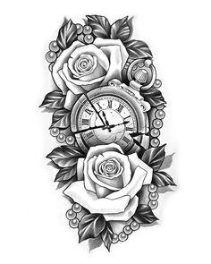 Clock Tattoo Design, Tattoo Design Drawings, Tattoo Sleeve Designs, Tattoo Sketches, Pocket Watch Tattoo Design, Tattoo Clock, Baby Tattoos, Tattoos For Guys, Tattoos For Women