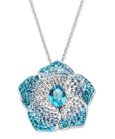 Kaleidoscope Sterling Silver Necklace, Aqua and White Swarovski Crystal Flower Pendant (1-3/4 ct. t.w.) )