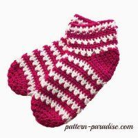 Free crochet pattern for slipper socks by Pattern Paradise #crochet #freepatterns #XStichchallenge #basket #container #pouch