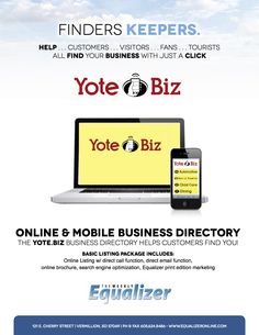 Business is good in Vermillion thanks to The Weekly Equalizer but we are far from achieving our goal of creating a regional mobile marketing network to serve tourists, newcomers, & residents by providing timely & useful information. It's time to expand!  I'm looking for individuals & media companies to sell Yote.Biz in Aberdeen, Brookings, Chamberlain & Oacoma, Deadwood, Elk Point & Jefferson, Lincoln, Madison, Mitchell, Pierre, Rapid City, Watertown, and Yankton.