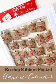 Burlap Ribbon Advent Calendar with printable list of advent activities