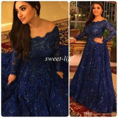 Sparkly Vintage Evening Dresses 2015 Cheap Long Sleeves Beads Crystals Ruffled Sweep Train Plus Size Arabic Navy Blue Lace Formal Prom Gowns Online with $147.63/Piece on Sweet-life's Store | DHgate.com: