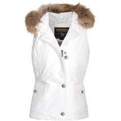 Woolrich W's Beckley Vest White Down Vest With Fur Trim ❤ liked on Polyvore