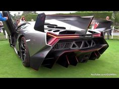 Features the $4.5 million dollar Lamborghini Veneno on display at the 2013 Pebble Beach Concours d'Elegance in California USA.