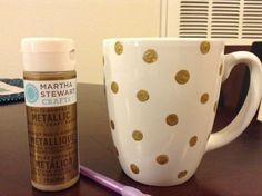 DIY Polka Dot Coffee Mug totally want to do this! SO cute