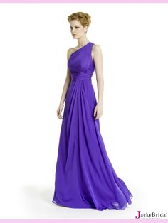 Purple A Line One Shoulder Chiffon Evening Dress from jackybridal.com