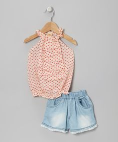 Take a look at this Crème & Pink Polka Dot Top & Denim Lace Shorts - Toddler & Girls by Mia Belle Baby on #zulily today!