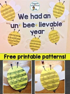"""Free bee patterns for this end of the year bulletin board """"We Had an """"Un-BEE-lievable"""" Year that gets students to reflect back on the school year #endoftheyear #bulletinboard #free"""