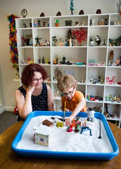 Two local psychotherapists use a form of expressive therapy called Sandtray-Wordplay. The approach is unique in that it asks clients to express themselves through sand.