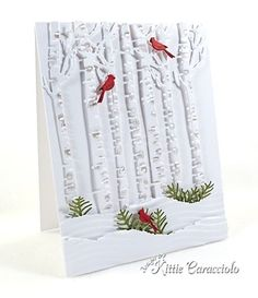 handmade Christmas card from KC … Impression Obsession Birch Trees die cuts …. handmade Christmas card from KC … Impression Homemade Christmas Cards, Christmas Cards To Make, Xmas Cards, Handmade Christmas, Homemade Cards, Holiday Cards, Christmas Tree, Woodland Christmas, Christmas Snowflakes