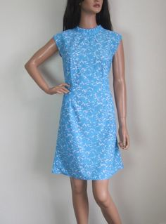 Vintage 1960s Blue & White Floral Mini Shift Dress available to buy online at Virtual Vintage Clothing £25