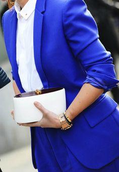Royal blue suit | White blouse | Chic white clutch