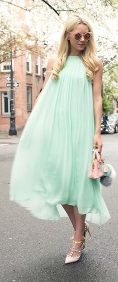 Street style Chic / karen cox.  Mint Green Chiffon Maxi Dress by Atlantic - Pacific
