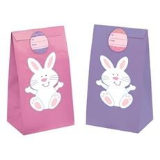 Bunny Treat Bags with stickers. Cute for favors or egg hunts!