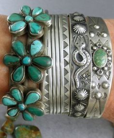 you rarely see green turquoise, currently I'm lovin white buffalo turquoise but it is too pricey still - turquoise & sterling silver stacked Native American cuff bracelets. Ethnic Jewelry, Indian Jewelry, Boho Jewelry, Silver Jewelry, Vintage Jewelry, Fashion Jewelry, Jewelry Design, Silver Rings, Western Jewelry