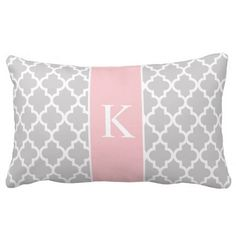 Simple, elegant, modern and trendy Moroccan, quatrefoil, tile, lattice or trellis pattern or design for Throw Pillows or Cushions. Light Grey (or gray) and white color background with an accent Pastel or Light Pink color block stripe and white custom monogram or initial in a preppy font. Personalize your gift by adding your own initials. Choose your own font and colors to make it your own. This trendy and chic design will enhance any home decor, living room, sofa, lounge, bedroom, office…