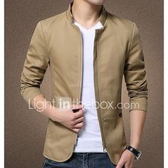 Men's Casual/Daily Work Simple Spring Summer Fall Jacket,Solid Stand Long Sleeve Regular Polyester 2017 - $21.99