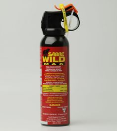 Non-flammable formula.  Sabre Wild MAX has a 1% Capsaicin formula that is the strongest Bear Pepper Spray available in Canada. The fog pattern sprays to 9m creating a barrier between you and the aggressive animal. The compact 225g size combined with the strongest formula and greater spray distance is ideal for the outdoor enthusiast looking for piece of mind while in the outdoors.