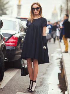 Swing dress, booties & bag.