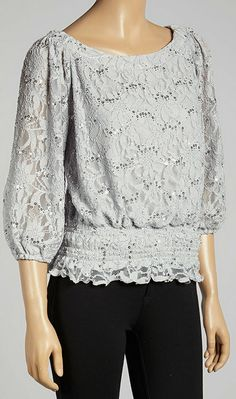 Silver Shimmer Lace Smocked Top