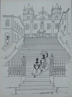 CARLOS BASTOS, paisagem com igreja do Bonfim, desenho a nanquim