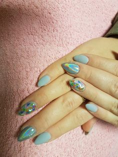 Blue nails with holocrome