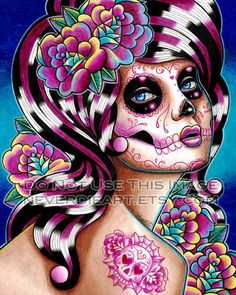 8x10 in Signed Art Print - Benumbed - Sugar Skull Girl. A Carissa Rose original painting for sale by Never Die Art at MoreThanHorror.com