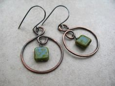 Hey, I found this really awesome Etsy listing at http://www.etsy.com/listing/152644873/copper-hoops-czech-glass-beads-handmade