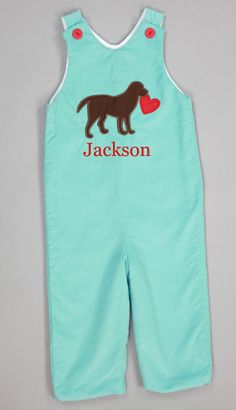 Southern Tots Blue Corduroy Valentine Puppy Longall
