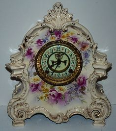 Ansonia Clock Royal Bonn Antique Porcelain Case 1882 Flowers | eBay