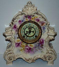 Ansonia Clock Royal Bonn Antique Porcelain Case 1882 Flowers   eBay