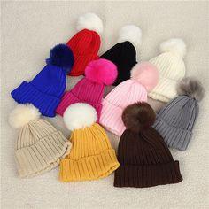 Child Kids Baby Warm Winter Wool Knit Beanie Fur Pom Bobble Hat Crochet Ski Cap at Banggood