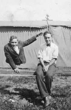 """Sideshow performer Johnny Eck the """"Half-Boy"""" with his twin brother Robert. Description from pinterest.com. I searched for this on bing.com/images"""