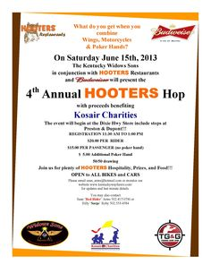 What do you get when you combine Wings, Motorcycles & Poker Hands? 4th Annual Hooters Hop benefitting Kosair Charities 6.15.13
