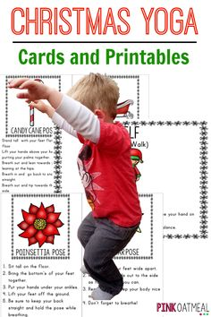 kids yoga with a Christmas theme!  I love the sleigh and candy cane poses!  Get cards and printables for download!