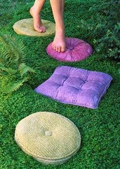 Dishfunctional Designs: The Upcycled Garden - April 2014. May look like pillows, but they are concrete! Would make a great addition to my tic tac toe board...