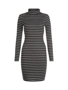 Black Stripe Polo Neck Long Sleeve Mini Dress  | New Look