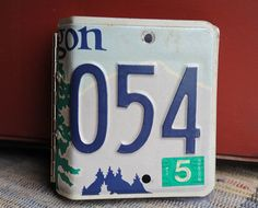 Recycled Oregon license plate photo album