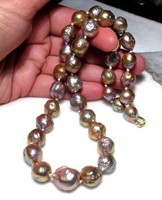 oooooohhhhh!   EXQUISITE RARE JAPANESE KASUMI PEARL NECKLACE EXTREME PURPLE PINK BRONZE RAINBOW