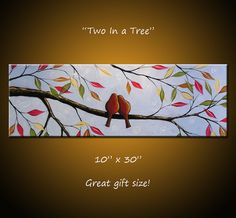 Bird Art Painting Modern Contemporary Trees Birds in a tree, 10 x 30 . Two In a Tree, Great gift size, wedding gift Bird Art Painting Modern Contemporary Trees Birds by AmyGiacomelli Love Birds Painting, Large Painting, Diy Painting, Painting Trees, Bird Tree, Art Original, Texture Art, Painting Inspiration, Canvas Art