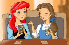 Ariel-and-Belle-at-Starbucks-by-Anime-Ray