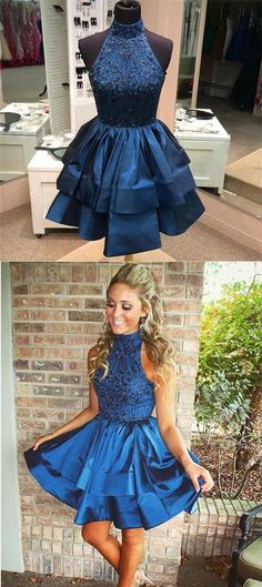 Pretty A-line Homecoming Dresses,High Neck Homecoming Dresses,Above-knee Prom Dresses,Beaded Dark Blue Backless Party Dresses,Short Homecoming Dresses