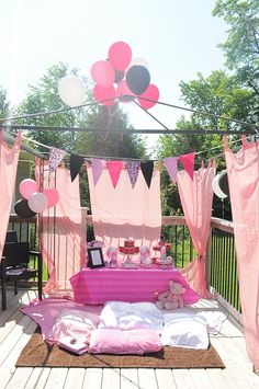 Use an old pop-up tent frame with shower curtains for a fun stage area, etc