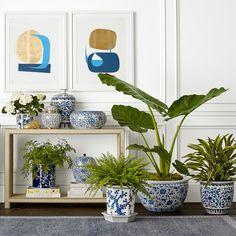 Blue & White Chinoiserie Ceramic Cachepot