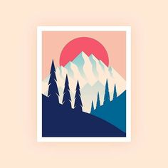 #repost from @joshuadwarren -  Waddup WA. - Tag #designarf on your design to featured !  #sun #sunset #mountains #landscape #design #illustration #vector #art #artwork #f4f #tree #diseño #arte #icon #graphic #poster by designarf