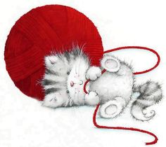 little kitten with big ball of yarn...cute Maria Woods gifts