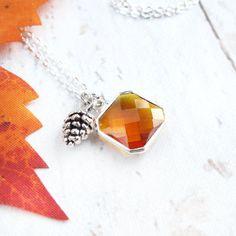 Fall Charm Necklace-Orange Gemstone Necklace-Fall Jewelry-Autumn Necklace-Pinecone Charm Necklace with Orange Gemstone-Fall Gift for Her $19.99 (USD)