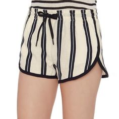 """NWT Rag and Bone Stripe Shorts These shorts are super cute!! Never worn still has tag. Bought from Intermix.com. 75% linen, 25% cotton. Waist laying flat across front: 14"""". Length from top to bottom on sides: 11"""". Small natural marks in fabric (see second to last photo) I'm pretty sure these are just from the linen used because they've never been worn. A tiny bluish mark which I think is from the elastic waist (again see second to last photo). I have another listing with more modeling…"""